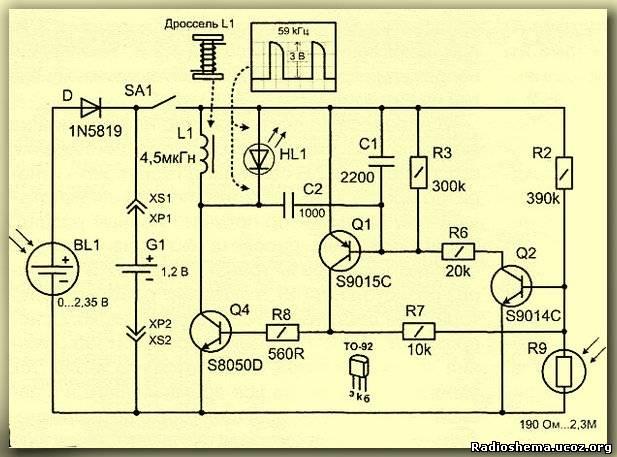 Принципиальная схема светодиодного фонарика.
