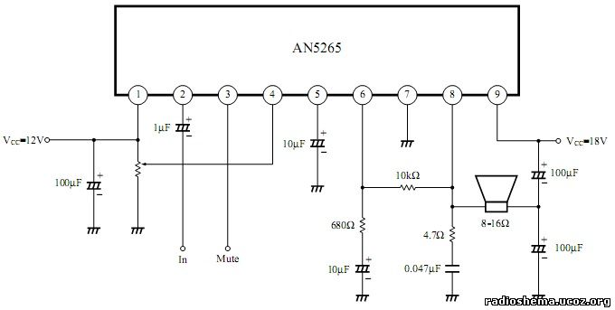 УНЧ на микросхеме an5265
